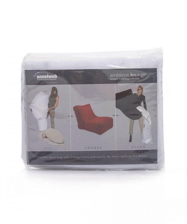 ソファに入れるビーズの調整をするために使うメッシュバッグ